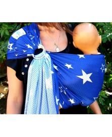 Lucky - Sukkiri, sling - Bleu étoiles blanches