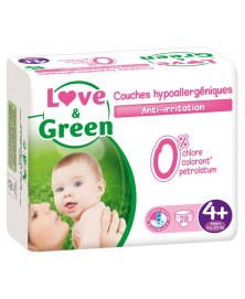 Love & Green - Couches jetables hypoallergéniques - Taille 4+