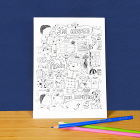 5 cartes postales géantes à colorier - Georges